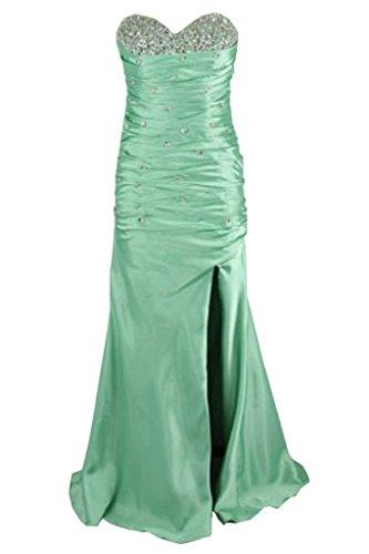 Coloris tendance pour femme mariée avec strass en forme de coeur à fente longue abendkleider ballkleider Vert - Aquamarine