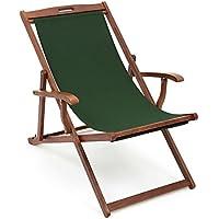 Luxury Deckchair with arms - Traditional Hardwood frame Dark Green Slip