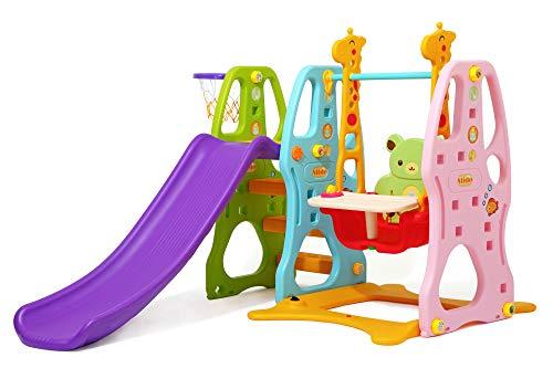 Clamaro \'Crazy Zoo 3in1\' Garten Spielplatz Schaukel mit Rutsche und Basketballkorb Kombination, Schaukelsitz mit Gestell, Rückenlehne, Anschnallgurt und Rausfallschutz Bügel mit Tablett (entfernbar)