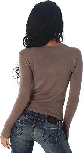 Luxestar Damen Stretch-Pullover / Langarm-Shirt einfarbig mit Deko-Knöpfen (32/34/36/38) Hellbraun