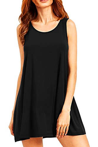 YMING Damen Lockeres Kleid Lose Blusenkeid Ärmellos Lange Shirt Casual Strickkleid Midi,Schwarz,L