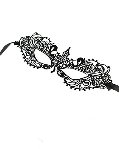 Zac's Alter Ego Maske, mit Spitze, Schwarz, venezianischer Stil, Augenmaske mit (In London Kostüm Ball)