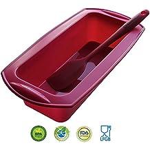 Molde rectangular para Bizcochos y Espátula de Silicona de Backhaus® | Juego de Repostería de Silicona Premium Antiadherente | Libre de BPA | Grande: 23cm - Rojo