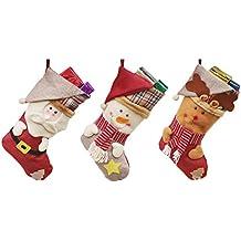 Dosige 3pcs Medias de Navidad Calcetines de navidad Santa Claus Muñeco de nieve Alce Medias colgantes
