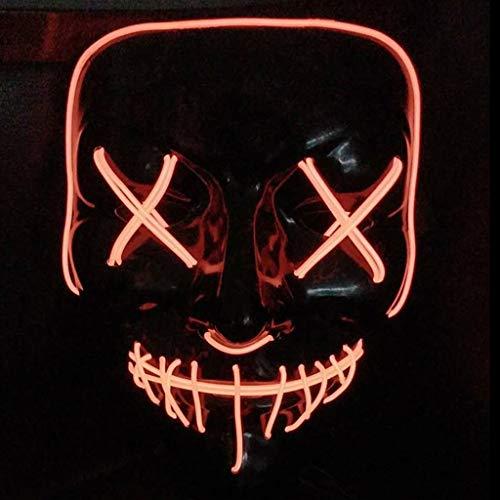 QWEASZER Leuchtende Maske Grimasse Erwachsener Fluoreszenz Tanzmaske Bar Devil Horror Kopfbedeckung Spukhaus Schädel Maske Halloween Kostümpartys Maskeraden Terror Thema Party,J-22X17CM