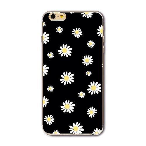 Coque iPhone 7 Housse étui-Case Transparent Liquid Crystal en TPU Silicone Clair,Protection Ultra Mince Premium,Coque Prime pour iPhone 7 (2016)-Géométrique Marguerite
