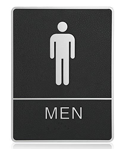 """mengliangpu8190 Tin Sign Mens ADA Compliant Restroom (Bathroom) Braille Sign Large 6""""X9"""" with Double Sided 3M Tape"""