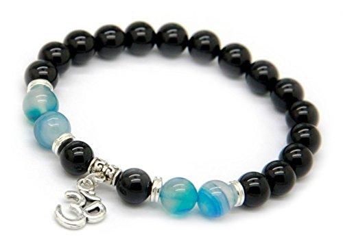 EDELSTEIN Armband – Onyx und Achat blau mit OM Zeichen - Yoga Esoterik Spiritualität Astrologie Meditation Energie