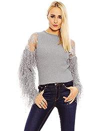 Mayaadi Damen Pullover Bluse Volantärmeln Trompetenärmel Spitze Sweatshirt  Fransen M036 d97da4e574