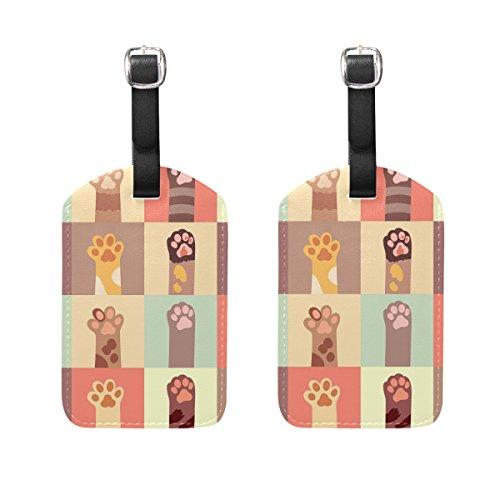 COOSUN Katzen Pfote Set Kofferanhänger Reise Etiketten Tag Name Kartenhalter für Gepäck Koffer Tasche Rucksäcke, 2 STÜCKE (Stück Leder-gepäck-set 2)