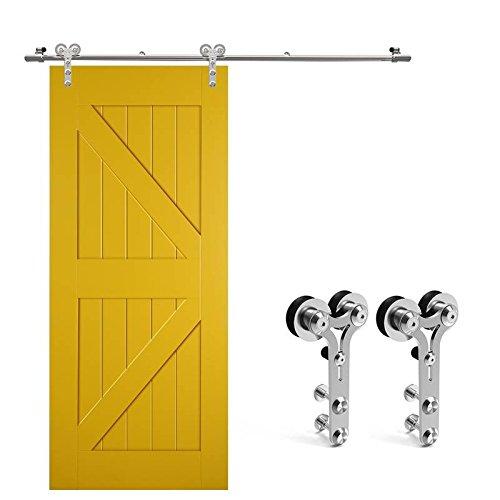 Ccjh 6ft-183cm acciaio inossidabile scorrevole binario ruote rulli hardware della porta kit accessori per singolo porta di legno/vetro scorrevole in stile rustico y shaped