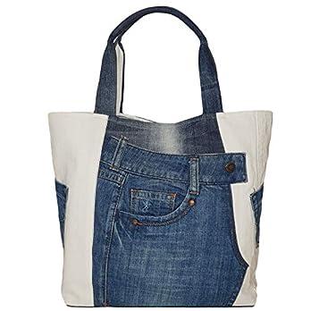 Große Damen Tasche aus Denim, Recycelte Jeanstasche für den Altag, Stilvolle Blau & Weiß Handtasche, Moderne Schultertasche