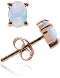 18K Rose Gold over Sterling Silver 6x4 Oval Fiery Created White Opal Stud Earrings