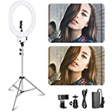 Neewer 18 inch Led Ring Light with Silver Light Stand Lighting Kit Dimmable 42W 3200-5600K with Soft Filter Hot Shoe Adapter for video shooting TikTok youtube musically for photography