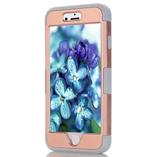 IPhone 6 Case Plus, Lantier 3 en 1 coque en plastique dure avec silicone High Impact antichoc clouté strass cristal Bling Heavy Duty hybride robuste Housse de protection pour IPhone 6 Plus [Rose/Noir] Iphone 6 plus Gold/Grey