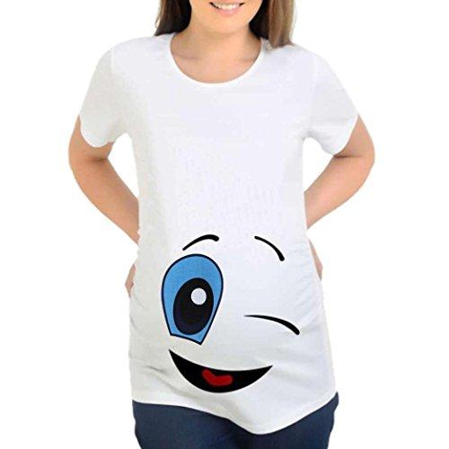 Feixiang® maglietta per l'allattamento elegante stampa del fumetto camicie e casacche da premaman camicia da donna per maternità camicia a doppio strato con maniche avvolgibili (bianco##, m)