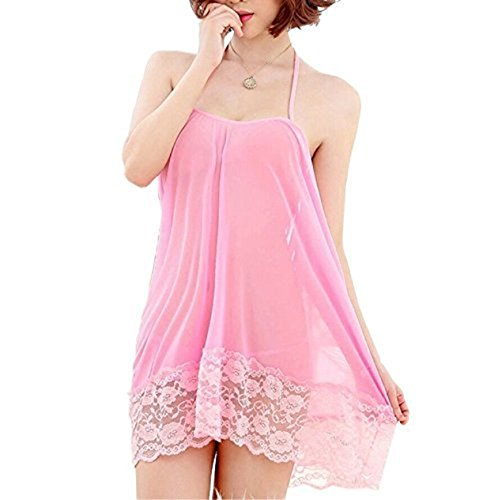 BoldnYoung Honeymoon Babydoll Lingerie and Nightwear Sexy Honeymoon Lingerie For Women / Ladies and Girls Net Babydoll Dress Sleepwear Pink