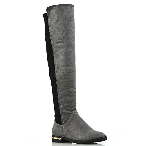 ESSEX GLAM Damen über Das Knie Goldordnung Niedriger Absatz Grau Wildlederimitat Strecken Reißverschluss Beiläufig Stiefel EU 38 (Hoch Stiefel Vintage-knie)