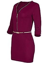 Laeticia Dreams Damen Minikleid mit Reißverschluss Zipper Gürtel S M L XL