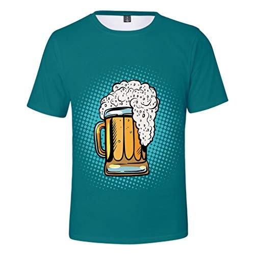 ZHANSANFM Oktoberfest Herren Rundhals T-Shirt Trachten 3D Drucken Wiesn Shirt mit Bier Spaß Motiv Kurzarm Tops Modern karnevalskostüme Deutsches Bierfest Kostüm Regular Fit (L, - Männer Deutsches Lederhosen Kostüm