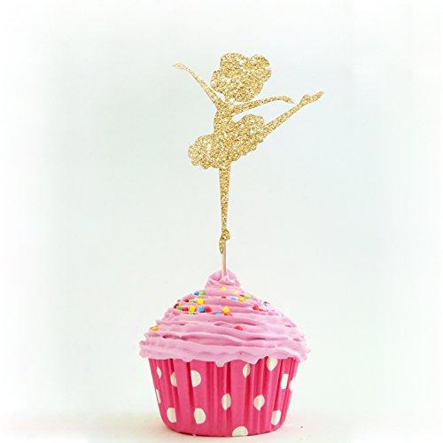 Ballerina Party Cupcake Topper Farbe Gold 12Stück Cupcake Topper Dekoration Kuchen Graduation Baby Dusche (Eulen Baby-dusche Dekorationen)
