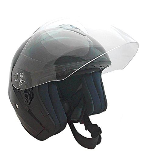 KENROD casque de moto ouvert | Jet V10 | Visière anti-rayures | CE approuvé | Noir | Taille XL