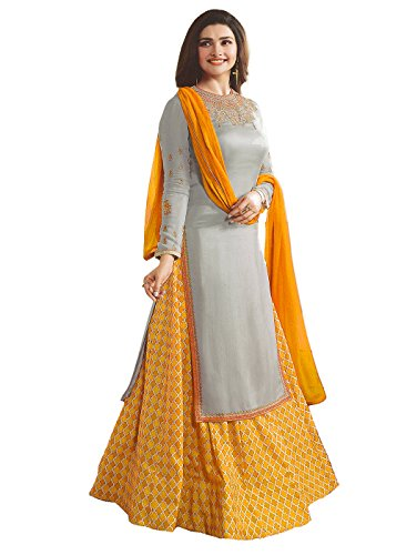 Bipolar Life Yellow Color Crept Fabric lehnega pattern Embroidery work Semi Stitched...