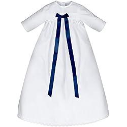 Bautizo Niño con lazo azul, 100% algodón, fácil de poner y fácil de limpiar, tamaño 62, 68o 74para joven/Buben–taufanzug/bautizo Ropa Baby Bautizo gewand Niño vestido para bautizo Weiß 74