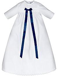 Taufkleid Junge mit blauer Schleife, 100% Baumwolle, leicht anzuziehen und pflegeleicht, Größe 62, 68 oder 74 Für Jungen / Buben - Taufanzug / Taufkleidung Baby Taufgewand Junge Kleid für Taufe