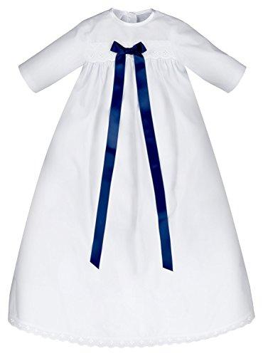 Taufkleid Junge mit blauer Schleife, 100% Baumwolle, leicht anzuziehen und pflegeleicht, Taufrobe für Jungen / Buben, Größe 68 Blau