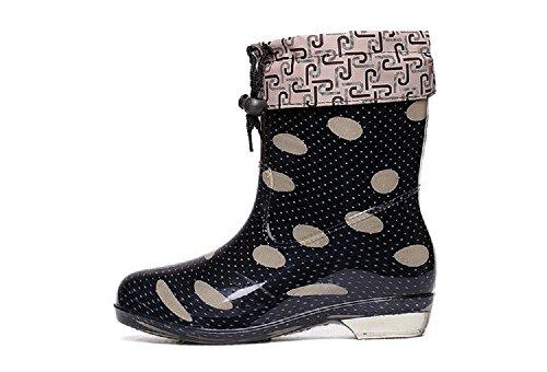 L'autunno e l'inverno Ms. coreano puntino stivali da pioggia Black