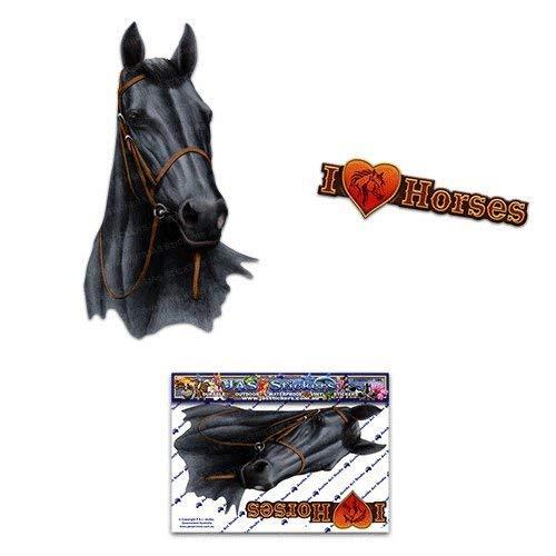 Pferd schwarz Tier Auto Aufkleber - ST00052BK_SML - JAS Aufkleber