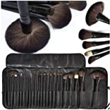MACPLUS Premium Quality Makeup Brush Set, 24 Pieces Set with Black Leather Case