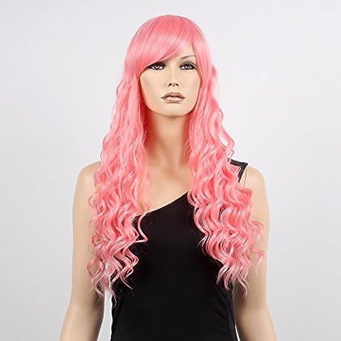 stfantasy Perücken für Frauen lange gelockt hitzebeständiges Synthetikhaar 63,5cm 212G mit Pony Wig peluca frei Hair Net + Clips, Hot (Hot Pink Thread)