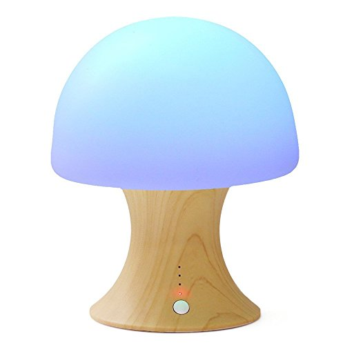 Multicolor LED Night Light Silicone Mushroom Nursery Children Nightlight Dimmable Timer Mood Lamp with Warm White & 7 Colorful Light Modes, USB Rechargeable Table Lamp for Baby Adults Bedroom ...