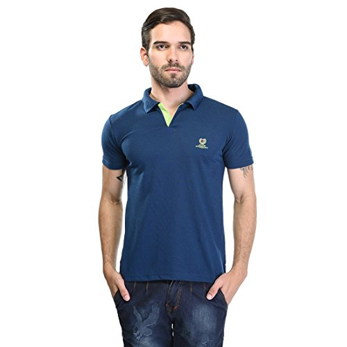 Duke Stardust Casual T-Shirt for Men Polo Collar Cotton Blend Material Half Sleeves Light Navy color Smart Fit  available at amazon for Rs.335