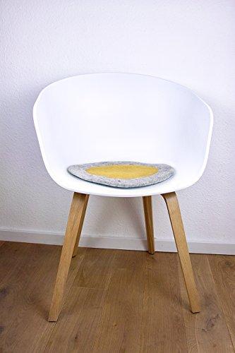 Rundes Stuhlkissen in senf gelb aus 100% reinem Merinofilz als Bankkissen, Bodenkissen oder Dekokissen ca. 36 cm Durchmesser für Designerstühle, Bänke und auch Gartenbänke und...