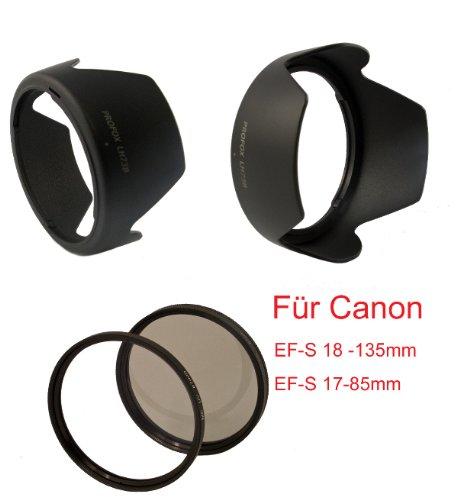 Top Spar Set - Für Canon EF-S 4-5.6/17-85mm IS/Canon EF-S 18-135mm IS USM/STM - PROFOX Sonnenblende LH73B + MC UV Filter 67mm (mehrschichtvergütet) - CPL Zirkularpolfilter und Cap mit Innengriff