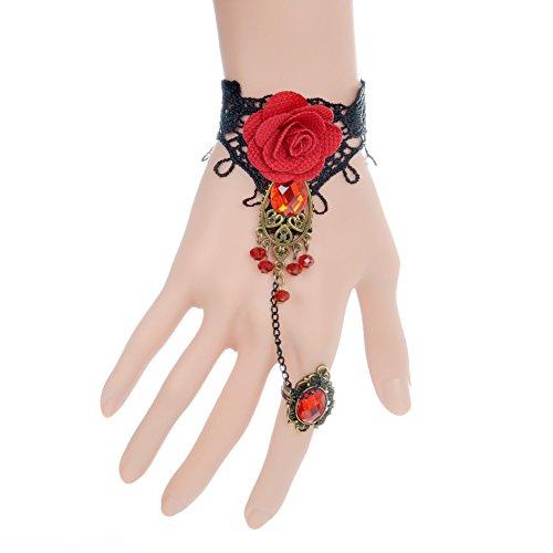 gt Retro Schwarz Spitze Vampir Armband mit Stoff Blume und Rot Harz Spitzen Armband gotischen Stil, rot (Gothic Braut Kostüm Ideen)