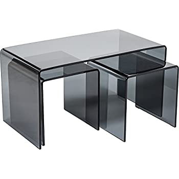 Hermosa Minerva Bent Curved Grey Coffee and Side Table Set Glass Black 86 x  sc 1 st  Amazon UK & Hermosa Minerva Bent Curved Grey Coffee and Side Table Set Glass ...