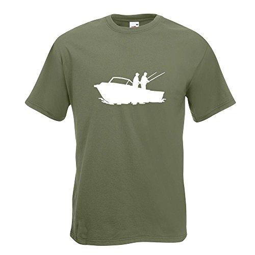 Kiwistar Fischerboot - Angler T-Shirt in 15 Verschiedenen Farben - Herren Funshirt Bedruckt Design Sprüche Spruch Motive Oberteil Baumwolle Print Größe S M L XL XXL Olive