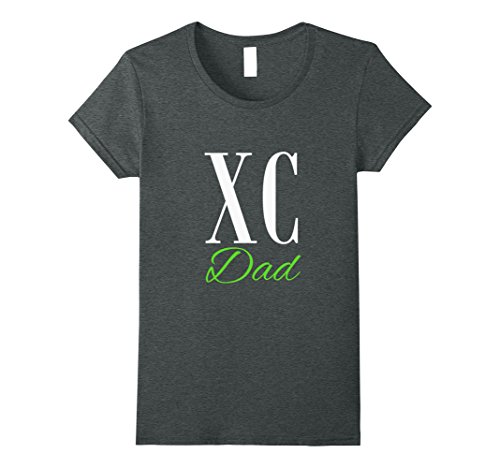 Womens Cross Country Dad T-Shirt for Fathers Large Dark Heather (Damen Cross Dark T-shirt)
