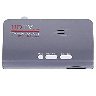 Anmyox Digital FULL HD 1080P Terrestrial TV Set-top Box, USB 2.0 Freeview TV Tuner Recorder, DVB-T/T2 Receiver with HDMI+ VGA+ AV Out, with Remote Control (Grey with VGA)