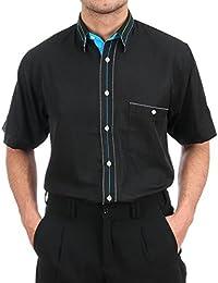 H K Mandel Ausgefallenes Hemd in Schwarz, für Herren Beste Qualität,  Außergewöhnliche Hemd Kurzarm Normal 6a927ee0ed