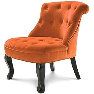 Fauteuil crapaud capitonné velours orange
