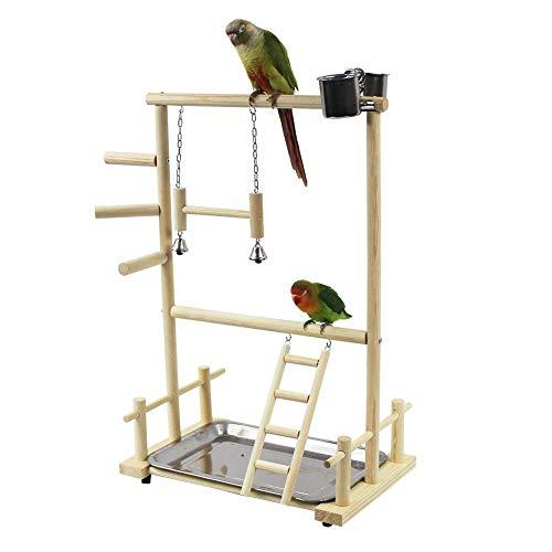 r Wellensittiche Double Layer Wooden Bird Stand Inklusive Leiter Swing Bell Bird Athletic Toy Stand ()