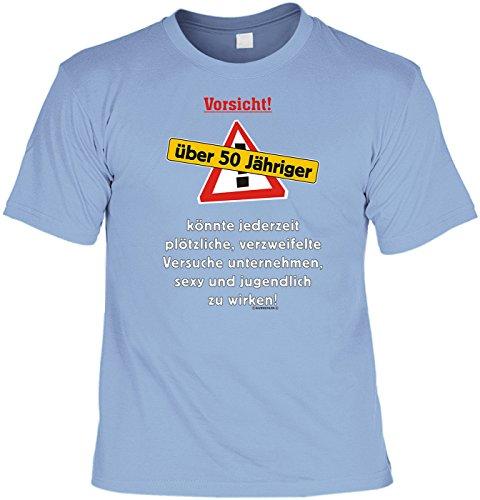 Geburtstags-Spaß-Shirt/Fun-Shirt/Herren-Shirt Rubrik lustige Sprüche: Vorsicht! über 50 Jähriger! - geniales Geschenk Hellblau