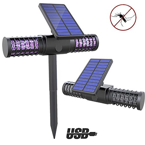 Especificaciones:Tamaño: 43x29cmDe color negroTipo: Lámpara de doble propósito solar para mosquitosFuente de energía: 4 X LED Lámpara UltravioletaTensión nominal: ≦ 36VCapacidad de la batería: 3.7v / 18650 batería de litio 2200mAhPanel solar: 5.5V, 1...