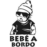 Oedim Pegatina Bebe a Bordo Blanco y Negro 14 x 17 cm | Adhesivo de Fácil Colocación | Pegatina para Coche Económica y Resistente