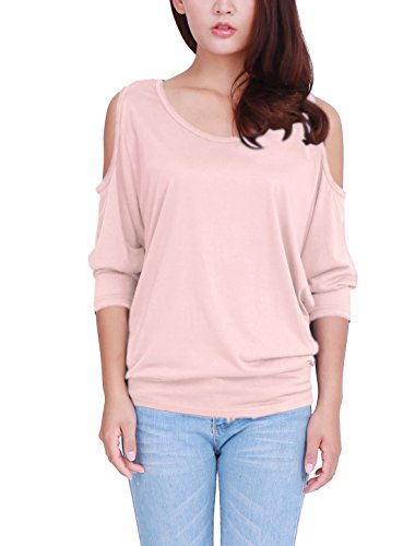 XL (US 18) , Pink : Allegra K Women's Scoop Neck Cut Out Shoulder Loose Batwing Top